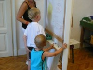 kreslící panel v dětské herně